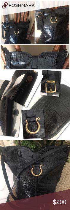 Selling this Furla Croc Embossed Leather Shopper Tote Bag RARE on Poshmark! My username is: catwalkrags. #shopmycloset #poshmark #fashion #shopping #style #forsale #Furla #Handbags