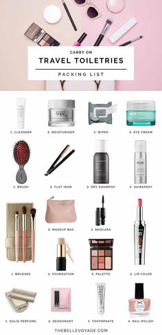 Travel Toiletries Packing List Travel Toiletries Checklist What To Pack Toiletries Travel Beauty Products Carry On Packing List Travel Makeup Bag Travel Toiletry Makeup Essentials Travel Toiletry Carry On Packing, Packing List For Travel, Travel Checklist, New Travel, Packing Tips, Travel Style, Time Travel, Travel Fashion, Travel Vlog