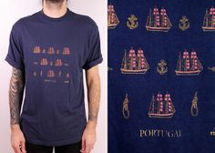 Vintage 90s  Dark Navy Blue Nautical Ships & by starlingdarlin