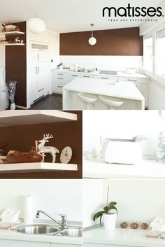 Los tonos blanco y café dan una agradable apariencia a la cocina; para estancias con poco espacios resulta una buena combinación.