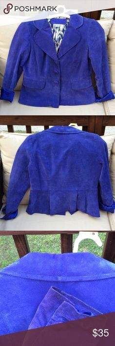 🍃 Gorgeous Leather Peplum Blazer Cobalt blue 100% leather blazer. Snap closer on front and sleeves...can roll sleeves up as well. Beautiful printed silky lining. Comes with a free necklace. Small water mark stains in back of collar and sleeve cuffs...cannot really see when worn...size small but fits like a medium LAL-Live a Little Jackets & Coats Blazers
