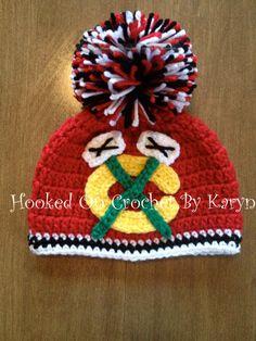 Chicago Blackhawks Crocheted Hat by HookedOnCrochetKaryn on Etsy, $26.00