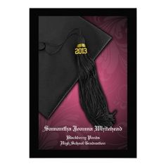2013 Pink and Black Tassel Charm Graduation announcements. More colors too! (Click the image to see all colors)