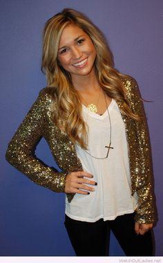 Golden glitter blazer and white top