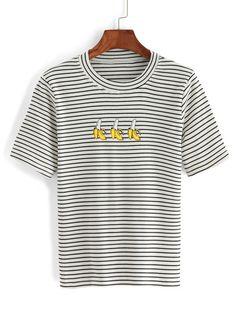 Striped Banana Print White T-shirt