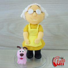 Miniatura Big Cult Muriel e Coragem, do desenho Coragem, o cão Covarde. <br> <br>* Altura Aproximada: 11cm. <br>* Produto sob encomenda biscuit - cold porcelain - clay - fimo - courage - cowardly dog - eustace