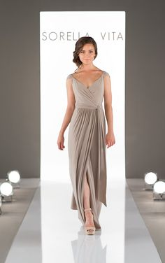 A true wrap dress, this bridesmaid dress can be adjusted to fit – and accentuate – all body types. Constructed with the soft Luxe Double Knit, it's silhouette flows freely as you walk. And with its adjustable straps, you can create a sweet cap sleeve style, or simple straps.