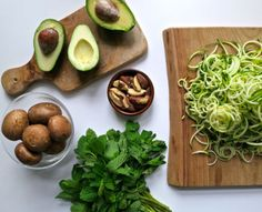 Zucchini Noodles with a Minted Avocado Sauce   Deliciously Ella