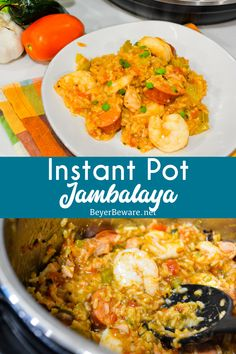 Instant Pot Jambalaya is a quick cajun recipe with spicy andouille sausage, chicken, shrimp, and rice pressure cooked in onions, celery, peppers, garlic, tomatoes, and creole seasonings. #Cajun #InstantPot #Shrimp #Sausage #Rice #DinnerIdeas #EasyRecipes #Recipes #PressurerCooker Cajun Recipes, Cajun Food, Easy Dinner Recipes, Easy Recipes, Dinner Ideas, Best Pressure Cooker Recipes, Slow Cooker Desserts, Jambalaya, Quick Meals