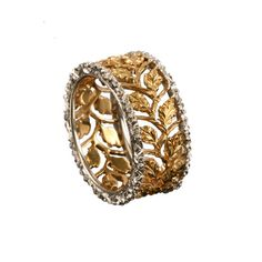 Trina ring by Buccellati: A new line of intricately carved and engraved rings from Buccellati pays tribute to European lace from Venice, Bruges and Valenciennes. (7 may 2013)