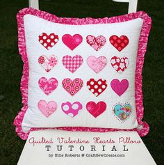Tutorial: Quilted Valentine hearts pillow, my grandgirls would love to have one of these I will put their names on them