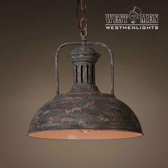 Industrial Rustic Iron Pendant Light Hanging Lamp Art Deco Antique Kitchen Dome