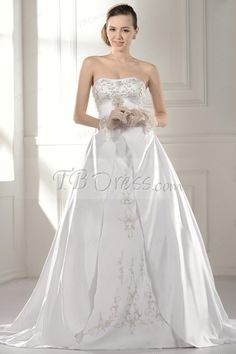 Graceful A-Line Strapless Embroidery Chapel Train Floor-length Wedding Dress