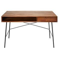 Solid mango wood and black metal 1-drawer desk