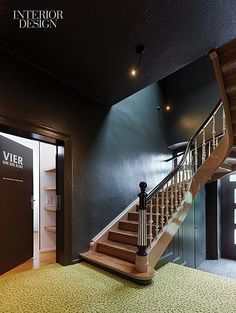 Every Room Tells a Story: Germany's Seehaus Forelle Haeckenhaus Resort   The oak staircase is original. #design #interiordesign #interiordesignmagazine #staircase #architecture #wood
