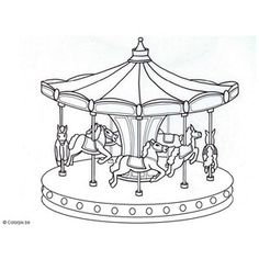 Coloring page merry go round. Free, printable, realistic. Coloring book pictures, sheets. - 6821