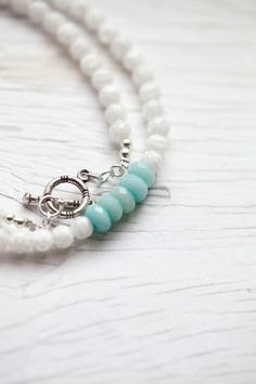White glass bead Necklace with mint accent . Bali silver toggle clasp . Bridal . Wedding . Classy.