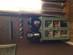 Simple coffee corner in the dining room. Saves counter space in the kitchen!