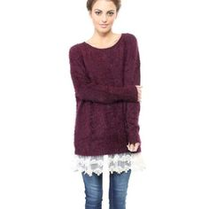 Maroon burgundy warmlace cozy soft sweater LF dupe Warm fuzzy soft thick sweater with lace attached at bottom :) love  I want to keep for myself but not really my style. LF Sweaters