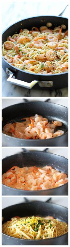This looks amazing. Shrimp scampi pasta.