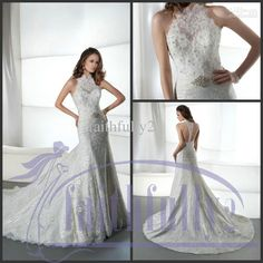 Wholesale White Wedding Dress - Buy Halter Sweetheart Lace Trumpet Wedding Dresses Backless Beaded Sash Applique Pleats Chapel Gown 1442, $195.45 | DHgate