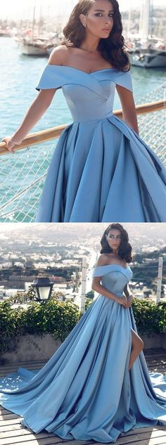 chic off shoulder prom party dresses, fashion formal evening gowns with split, ball gowns.