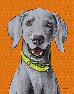Weimaraner in Orange 11x14 Pop Art Print Dog Art by PopDogDesigns