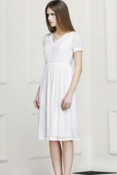 V collar short sleeves lace midi dress white