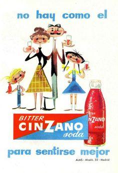 Bitter. Para finalizar, nada como un dibujo de José Luis Moro realizado la publicidad de Bitter Cinzano soda, un aperitivo muy popular en los años 50 y 60, hoy un tanto arrumbado por la moda. Lo curioso de este anuncio es que lo bebían también los niños. Se los ve súpercontentos. Vintage Advertising Posters, Vintage Advertisements, Vintage Ads, Vintage Prints, Vintage Posters, Poster Ads, Old Ads, Retro Art, Travel Posters