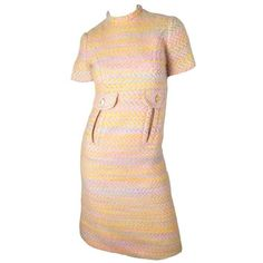 Preowned 1960s Bill Blass Pastel Wool Dress With Front Pockets ($650) ❤ liked on Polyvore featuring dresses, multiple, bill blass, sleeve dress, wool dress, bill blass dress and pre owned dresses