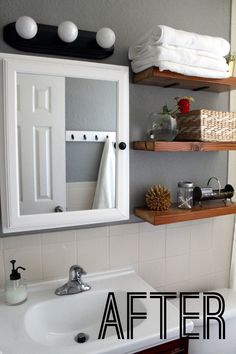 DIY Bathroom Makeover - before and after - this is a good one on a small budget