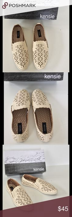 🆕 Kenzie Laser Cut Flats NIB These pretty cream color laser cut flats with scalloped borders are perfect for Spring & Summer. Comfortable with a cushioned footbed and flexible sole! Man made upper. Leather sole.  New in box 🎀Bundle discount  ⭐️5 star rated Suggested User 🚭Smoke free home 🚫No trades please  😍 Thank you for shopping with me. Please ask all questions before purchase Kensie Shoes Flats & Loafers