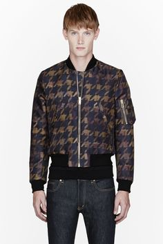 PAUL SMITH  Khaki Houndstooth Bomber Jacket