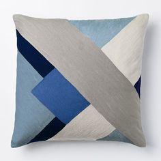 "$29.00  Size: 16""  Crewel Modern Blocks Pillow Cover - Larkspur | west elm"