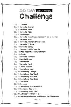 Starting the 30 Day Drawing Challenge tomorrow. Join in! :)