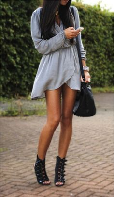 Grey Evening Dress From Ladies It is Fashion Time with black buckle pump bootie shoes