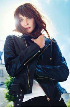leather jacket- Carla Bruni
