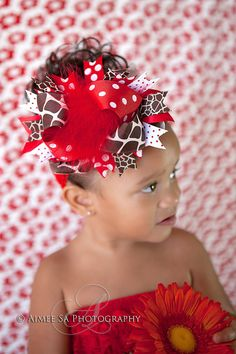 Giraffe and red ott bow by BowDivasBowtique on Etsy, $13.00