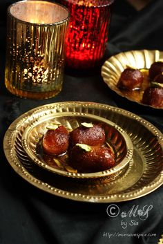Gulab Jamun ~ An Indian confection of deep fried spongy milk balls soaked in rose scented and cardamom flavoured sugar syrup  Recipe: http://www.monsoonspice.com/2013/10/easy-gulab-jamun-recipe-with-milk.html