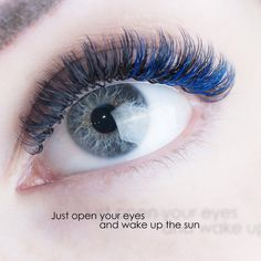 Blue and black c curl eyelash extensions Russian volume by Eva Bond