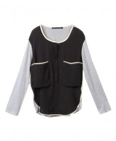 Chiffon Stitching Blouse with Oversized Pockets in Contrast Color