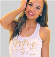 Mrs. Modern Gold Flowy Racerback Tank for a pink and gold wedding!