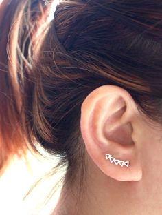 Triangle Ear Cuff Ear Climber Sterling Silver Ear by JCoJewellery