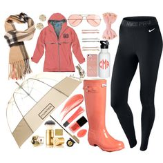 A fashion look from November 2013 featuring NIKE activewear pants, Hunter boots and Tory Burch earrings. Browse and shop related looks.