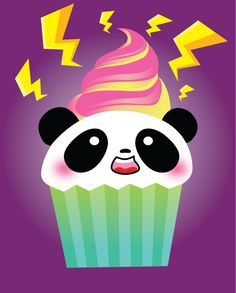Electric Panda Cupcake by Panduhmonium.deviantart.com on @deviantART