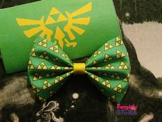 Legend of Zelda Triforce  Hair bow/ Bow tie  choose green  or Black   Geeky Gamer Bows on Etsy, $6.75