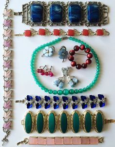11 Pc Vintage Thermoset/Plastic Jewelry Lot, Moonglow Lucite Beads, Chunky Bracelet Lot