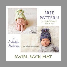 Swirl Sack Hat – Free Crochet and Knit Patterns