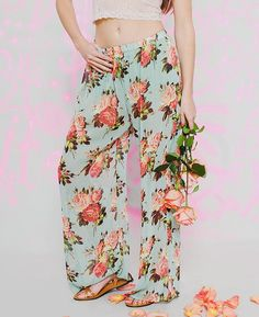 Betsey Johnson Sheer Rose Print Pants