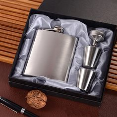 Flaskinstyle 7 oz Stainless Steel Flask with Two Shot Glasses and Funnel in a Black Gift Box Gift Set for Men & Women